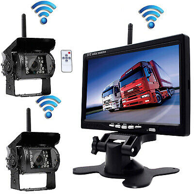 """7"""" Wireless Rear View Monitor Kit+2x Night Vision Backup Camera For Bus Truck/RV"""