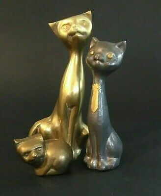 Lot of 3 Retro Mod Stylized 1970's Brass Cat Kitty Figurines Mid Century Modern