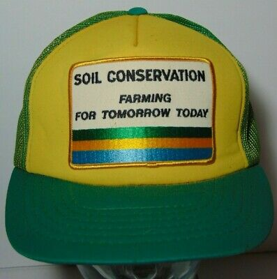 4ac07d23ce006 Vintage 1980s SOIL CONSERVATION FARM Patch SNAPBACK TRUCKER HAT CAP GREEN  YELLOW