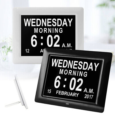 "8"" LED Clock Large Dementia Digital Wall Calendar Clocks Time Day Month Year"