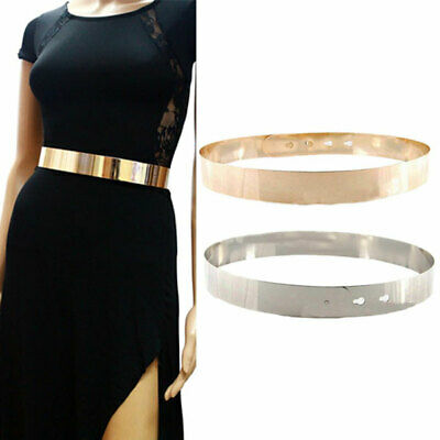AU Women Gold Mirror Metallic bling Waist band Plate Metal Obi Belt wrap Hoop