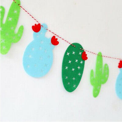 Green Cactus Hanging Garland Mexican Cutout Banner Party Hanging Decors LL
