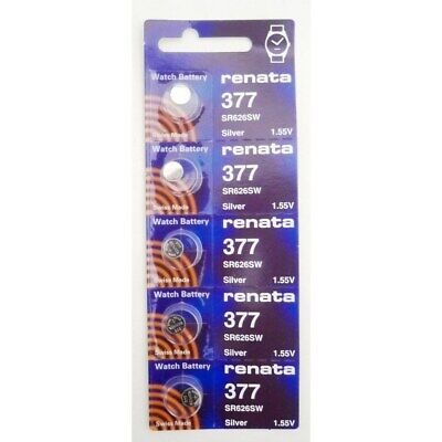 5 X Renata 377 1.55v Watch Cell Batteries SR626SW Mercury Free UK