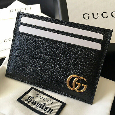 a64782cd14bb Authentic Gucci Gg Marmont Card Holder Black Leather Men Wallet Case Purse