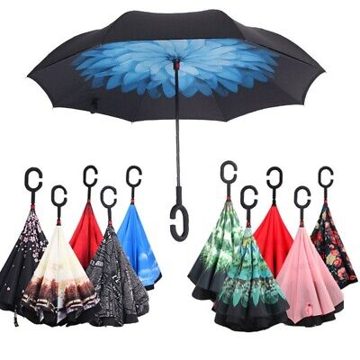 Upside Down Reverse-Umbrella C-Handle Inside-Out Inverted Windproof Double Layer