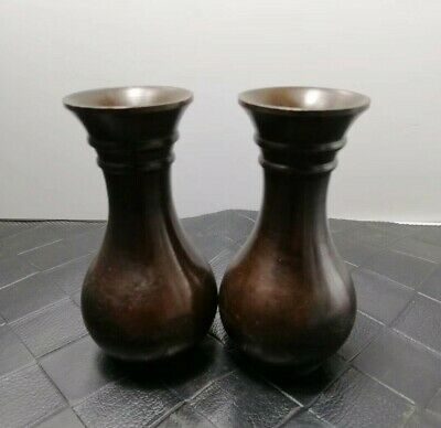 wonderful Decorated China Bronze Pure copper Carved pair Vase Flower Bottle