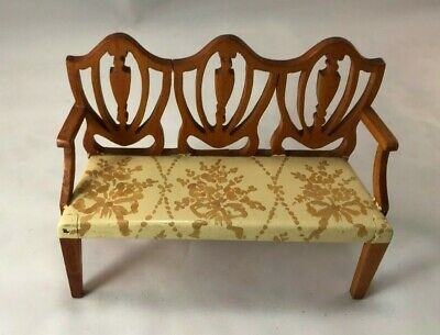 Tynietoy Hepplewhite Bench with Gold Bouquets Tied with Ribbons