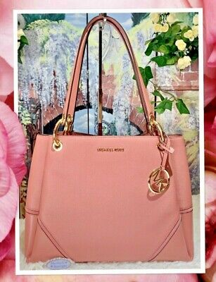 695b084b0035 MICHAEL KORS NICOLE LARGE Triple Compartment Shoulder Bag In ROSE PINK  Leather