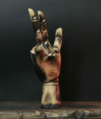 Distressed Burnt Beach Wood Human Posable Hand Model Mannequin Jewellery Stand