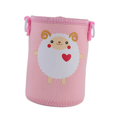 400-600ml Neoprene Bottle Sleeve Insulated Cover Bag with Strap Pink Sheep