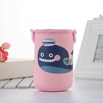 400-600ml Bottle Sleeve Cup Cover Thermal Insulation Pouch Bag Pink Whale