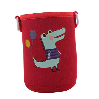 400-600ml Neoprene Bottle Sleeve Insulated Cover with Strap Red Crocodile