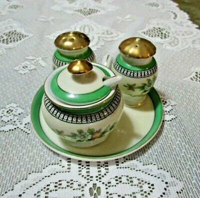 Antique Noritake Roserara Condiment Set Tray w/ Salt & Pepper Mustard Jar &Spoon