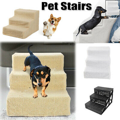 Portable Pet Stairs Dog Cat Soft Folding 3-Steps Ramp Ladder Indoor Couch Bed