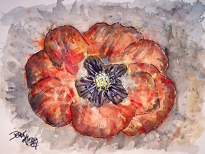 abstract poppy poppies flower red paintings original watercolor painting art