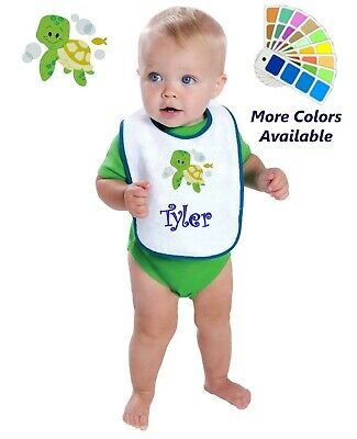 Personalized Baby Bib White Cotton Terry with Contrast Trim Baby Turtle Fish