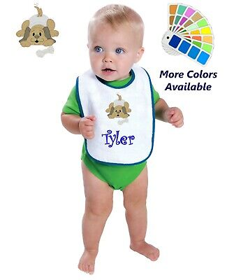 Personalized Baby Bib White Cotton Terry with Contrast Trim Baby Puppy Dog