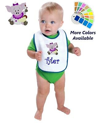 Personalized Baby Bib White Cotton Terry with Contrast Trim Baby Pig Design