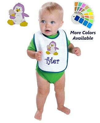 Personalized Baby Bib White Cotton Terry with Contrast Trim Baby Penguin