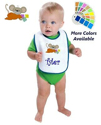 Personalized Baby Bib White Cotton Terry with Contrast Trim Baby Mouse Blocks