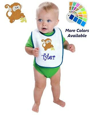 Personalized Baby Bib White Cotton Terry with Contrast Trim Baby Monkey Banana