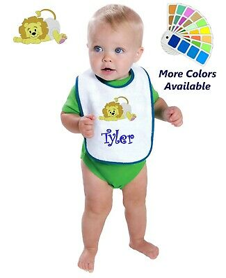 Personalized Baby Bib White Cotton Terry with Contrast Trim Baby Lion Design