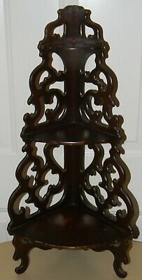 Antique Mahogany Pierce Carved Wall Hanging Corner Shelf Curio by Butler Vintage