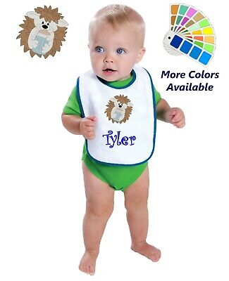 Personalized Baby Bib White Cotton Terry with Contrast Trim Baby Hedgehog Design