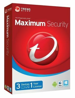 Trend Micro Titanium Maximum Security 2018 2019 1 Year Licence 3 Devices  NO CD