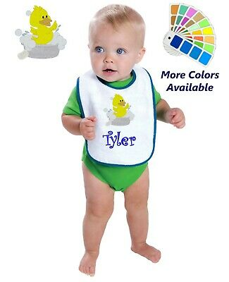Personalized Baby Bib White Cotton Terry with Contrast Trim Baby Duckling Design
