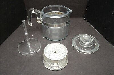 Vintage PYREX Flameware 6 CUP Glass Percolator 7756 Coffee Pot Complete