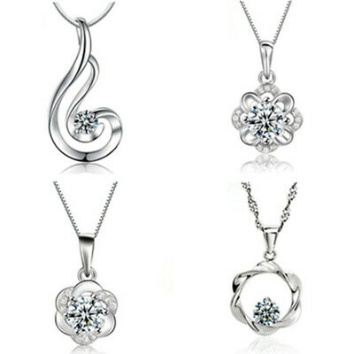 Crystal Flower Pendant 925 Sterling Silver Necklace Chain Women's Jewellery Gift