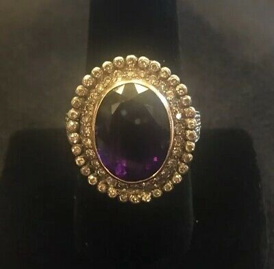 SUPERB Vintage 18K / 750 Yellow Gold Large Oval Amethyst & Diamond Ring Size 9