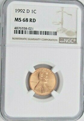 1992 D Lincoln Memorial Cent/Penny - NGC MS 68 RD (8-021)