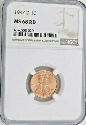 1992 D Lincoln Memorial Cent/Penny - NGC MS 68 RD (8-020)