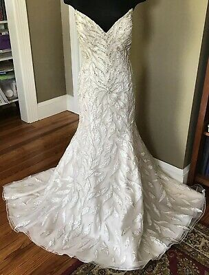 Stephen Yearick Ivory Fully Hand Beaded Wedding Gown Pre Owned