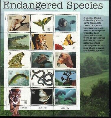 US SC# 3105 Endangered Species sheet of 15 stamps from 1996.  MNH