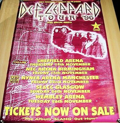 Def Leppard Stunning Rare 'Tickets Now On Sale' U.k. Tour Poster 1996
