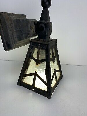 Antique Vintage Hammered Cast Iron Gothic Craftsman Outdoor Porch Wall Light