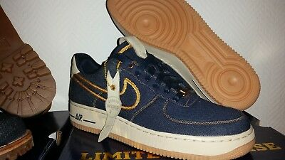 low priced 89bfb ae124 NIKE AIR FORCE 1 JEAN DENIM GOLD BRONZE, Taille 42.5EU   9US   8UK