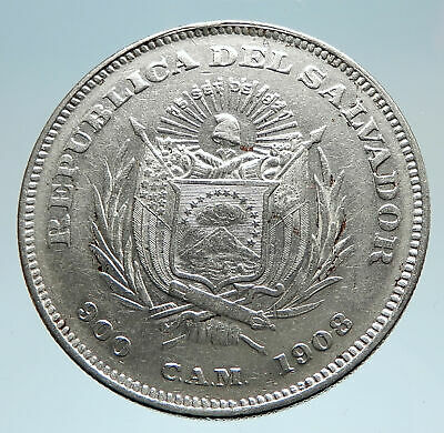 1908 EL SALVADOR w Explorer Christopher Columbus Genuine Silver Peso Coin i75224