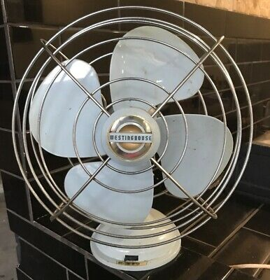 Westinghouse Fan Oscillating 3 speed Mid Century Vintage Blue Portable
