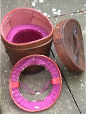 Vintage Double Leather. Hatbox to store 2 Silk Top Hats ..