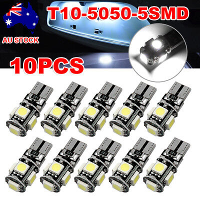 10PCS CANBUS T10 Wedge 5SMD Parker Side Light LED Bulbs W5W 194 168 131 WHITE