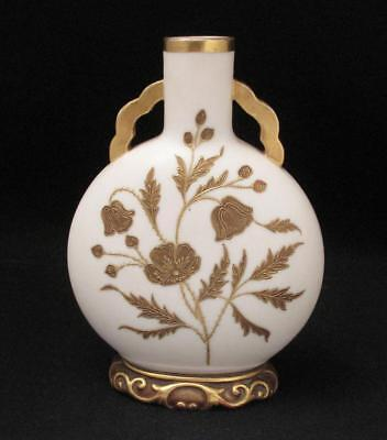 Antique  Royal Worcester Porcelain Moon Flask Vase Gilt Gold Oriental Design