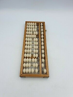 Vintage Chinese Wooden Abacus White Hard Plastic 78 Beads 13 Rows Brass Trims