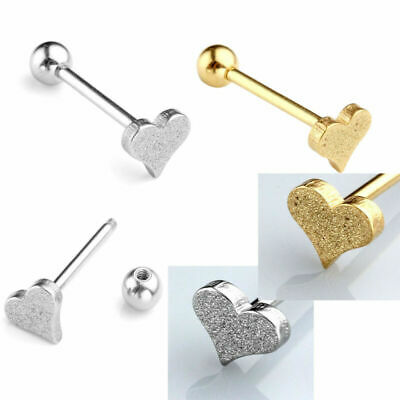 14G Stainless Steel Gold Heart Bar Labret Lip Tongue Rings Piercing Studs 1/10Pc