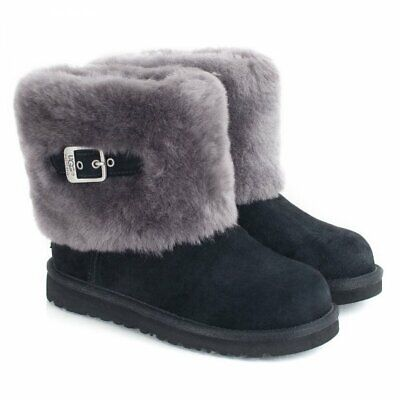 UGG Australia Ellee Boots KIds  Black Buckle Detail New UK 1 Eur 32