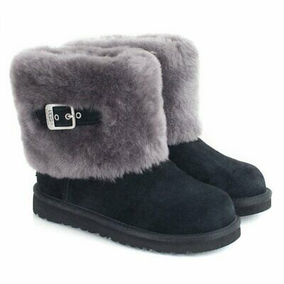 UGG Australia Ellee Boots KIds  Black Buckle Detail New UK 13 Eur 31