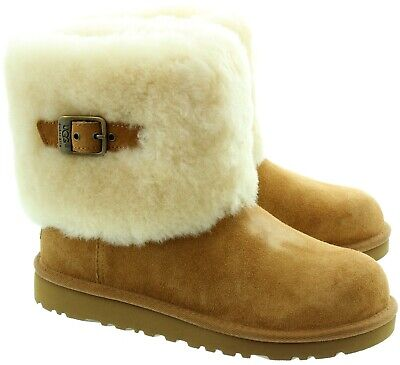 UGG Australia Ellee Boots KIds Chestnut Buckle Detail New UK 1 Eur 32